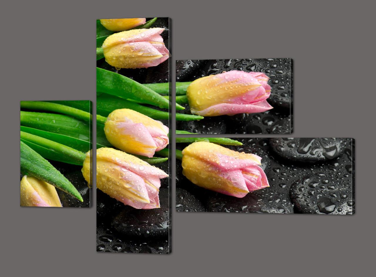 Модульная картина Тюльпаны на камнях 127*96,5 см Код: 586.4к.127