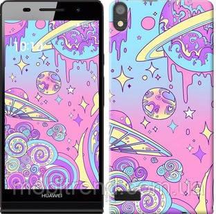Чехол на Huawei Ascend P6 Розовая галактика