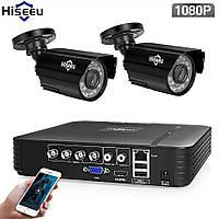 Комплект видеонаблюдения 1080P. Hiseeu 4CH  Внешняя, погодозащитная, инфракрасное Ночное Видение