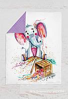 Панелька сатин Слон с конфетти 155*100