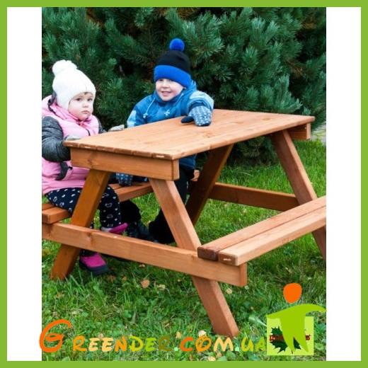 Детский деревянный столик с лавочками на улицу