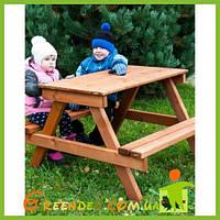 Детский деревянный столик с лавочками на улицу, фото 1