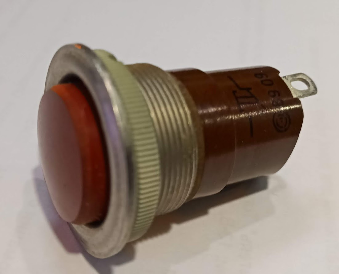 К-2-2 (20мм) кнопка однополюсная красная (нормально замкнутая)