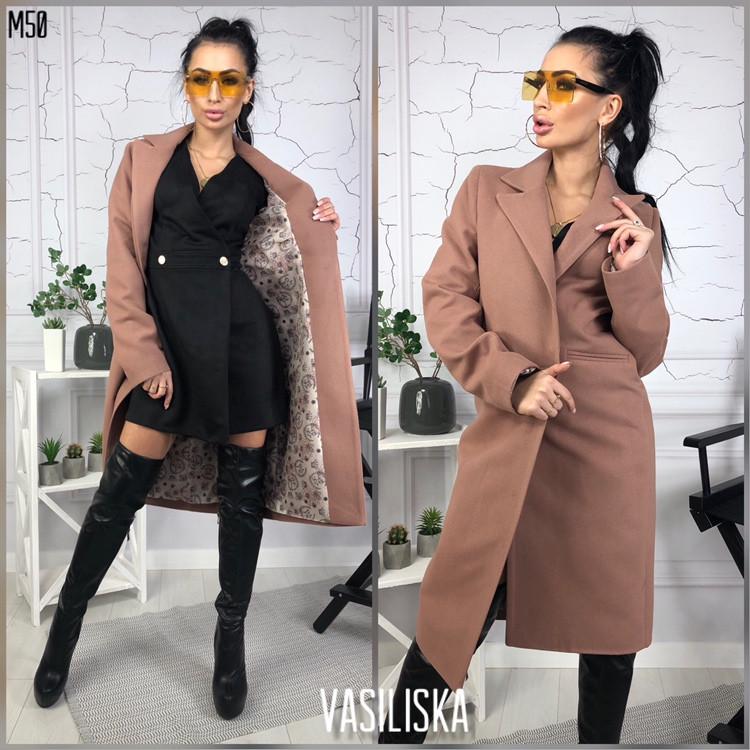 Пальто женское прямое кашемировое на подкладкеуни 42-44