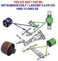 Сайлентблоки Mitsubishi COLT V (CJ_ CP_) 1995-2003  14шт задняя подвеска, фото 1