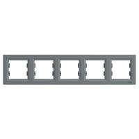 Рамка 5-ти модульная Asfora Сталь Schneider Electric
