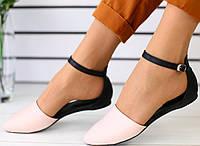 37,38,40 Стильные кожаные босоножки на низком ходу с закрытым носком и пяткой черные пудра SR30FS56-5JN
