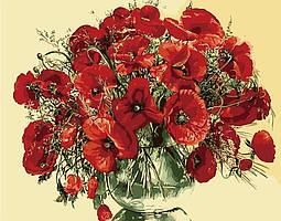 Картины по номерам - Красные маки в стеклянной вазе