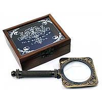 """Лупа бронзовая """"Sherlock Holmes"""" антик в деревянном футляре лупа 9,5х21см футляр 12х12х5см (29299)"""