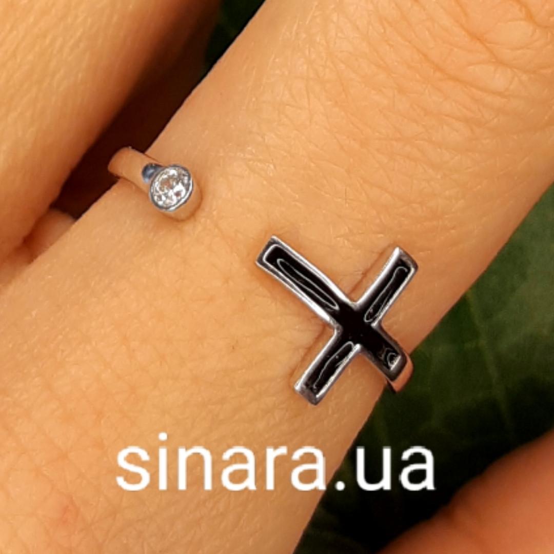 Серебряное кольцо c крестиком - Фаланговое кольцо Крестик серебро 925 и эмаль