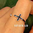Серебряное кольцо c крестиком - Фаланговое кольцо Крестик серебро 925 и эмаль, фото 2
