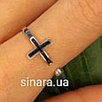 Серебряное кольцо c крестиком - Фаланговое кольцо Крестик серебро 925 и эмаль, фото 3