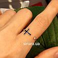 Серебряное кольцо c крестиком - Фаланговое кольцо Крестик серебро 925 и эмаль, фото 4