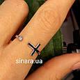Серебряное кольцо c крестиком - Фаланговое кольцо Крестик серебро 925 и эмаль, фото 5