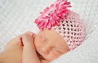Детская шапочка - сетка с цветком. Разные цвета