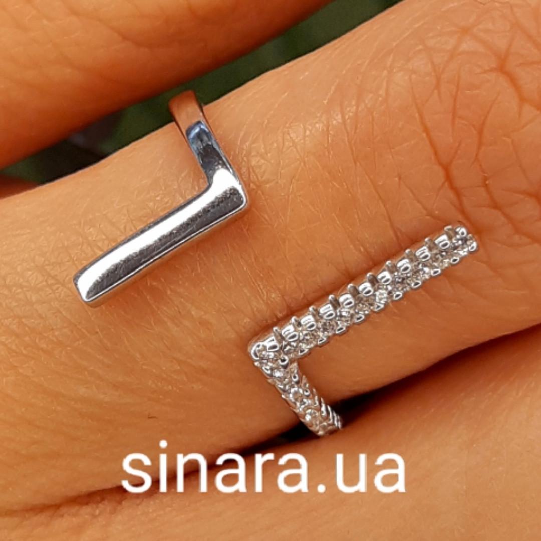 Серебряное кольцо минимализм  - Брендовое кольцо Ассиметрии серебро 925