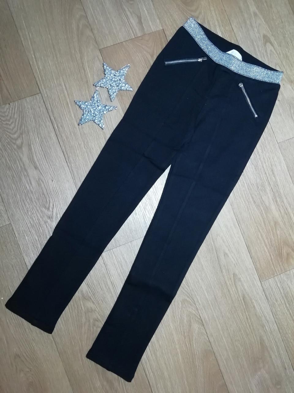 Черные хлопковые брюки скинни леггинсы на девочку (Размер 9-10Т) H&M (Англия)