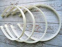 Обруч 10 мм білий пластик + репс молочний  № 06