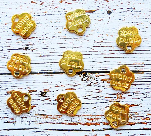 Металева бірка золотиста HandMade 8мм