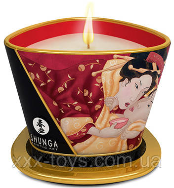 Свеча для массажа с запахом клубничного вина Shunga, 170 мл