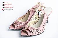 💐Босоножки женские 37р розовые, на шпильке 8см. Женские босоножки с перфорацией и открытым носком.
