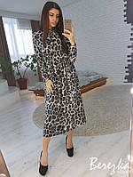 Платье миди, принт леопард серый