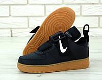 Кроссовки мужские Nike Air Force Utility реплика ААА+ (нат. кожа) р. 40-45 черный (живые фото), фото 1