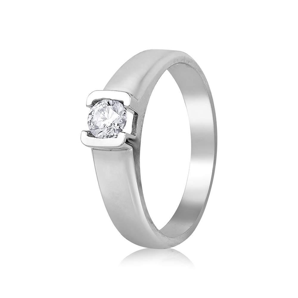 """Кольцо  с камнем SWAROVSKI Zirconia """"Кристалл"""", белое золото, КД4067/1SW Eurogold"""