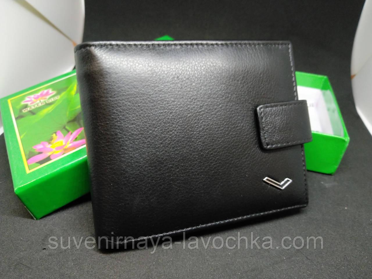 Мужской кошелек Classic кожа Water Lily 0712-A black Фирменный