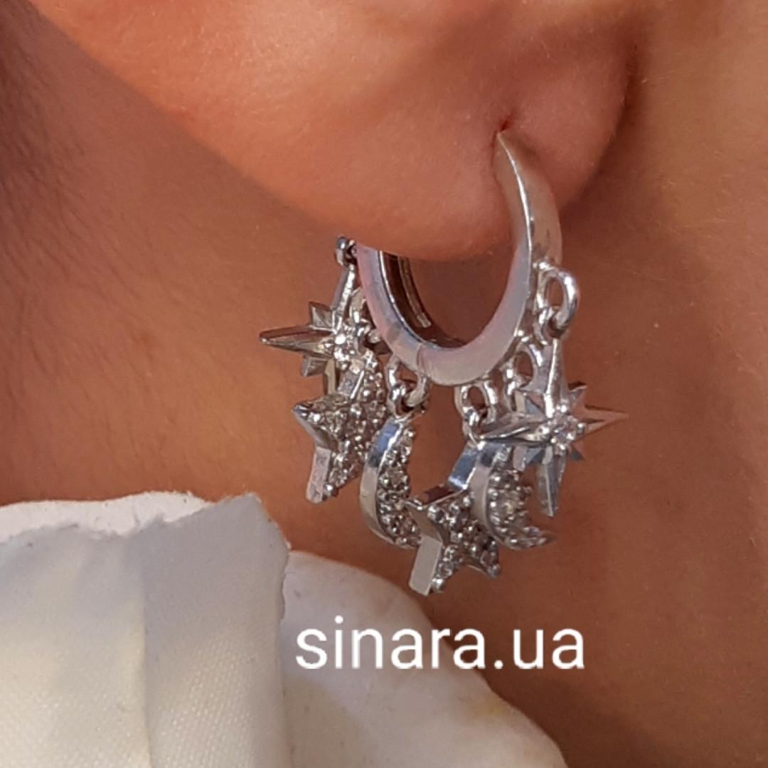 Моносерьга на одно ухо серебряная - Моносерьги серебро