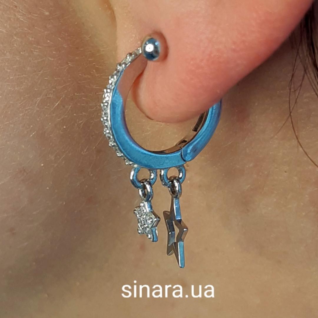 Моносерьга серебряная - Мносерьги серебро - Серебряная серьга на одно ухо