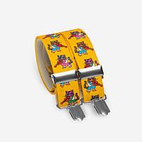 Подтяжки Bow Tie House детские ярко-желтые с котенком скрипачом 05167
