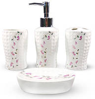 Набор аксессуаров Floral Колокольчики для ванной комнаты 4 предмета керамика (psg_ST-888-131)