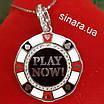 Счастливая покерная фишка кулон серебряный - Фишка для покера родированное серебро с эмалью - Казино кулон, фото 6