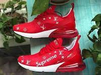 Женские  кроссовки в стиле NIKE Air Max 270 Supreme X LV Red красные