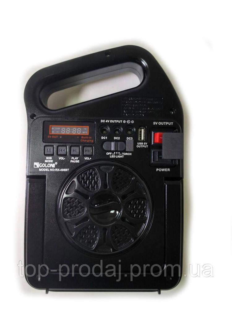 Радио RX 498 BT, Радио колонка MP3 блютуз, Приемник с  фонариком от солнечной батареи, Радиоприемник PowerBank