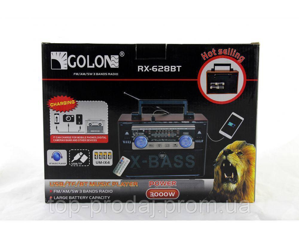 Радио RX 628 BT, Радиоприемник переносной Golon, Радиоколонка блютуз, Колонка акустическая, Радио-бумбокс