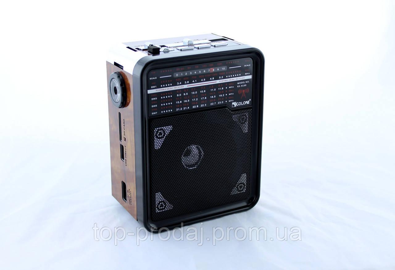 Радио RX 9100,Радиоприёмник GOLON, Фм приемник, Радио с светодиодным фонарем, Аккумуляторное радио