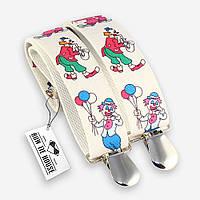 Подтяжки Bow Tie House детские белые с клоунами 07303