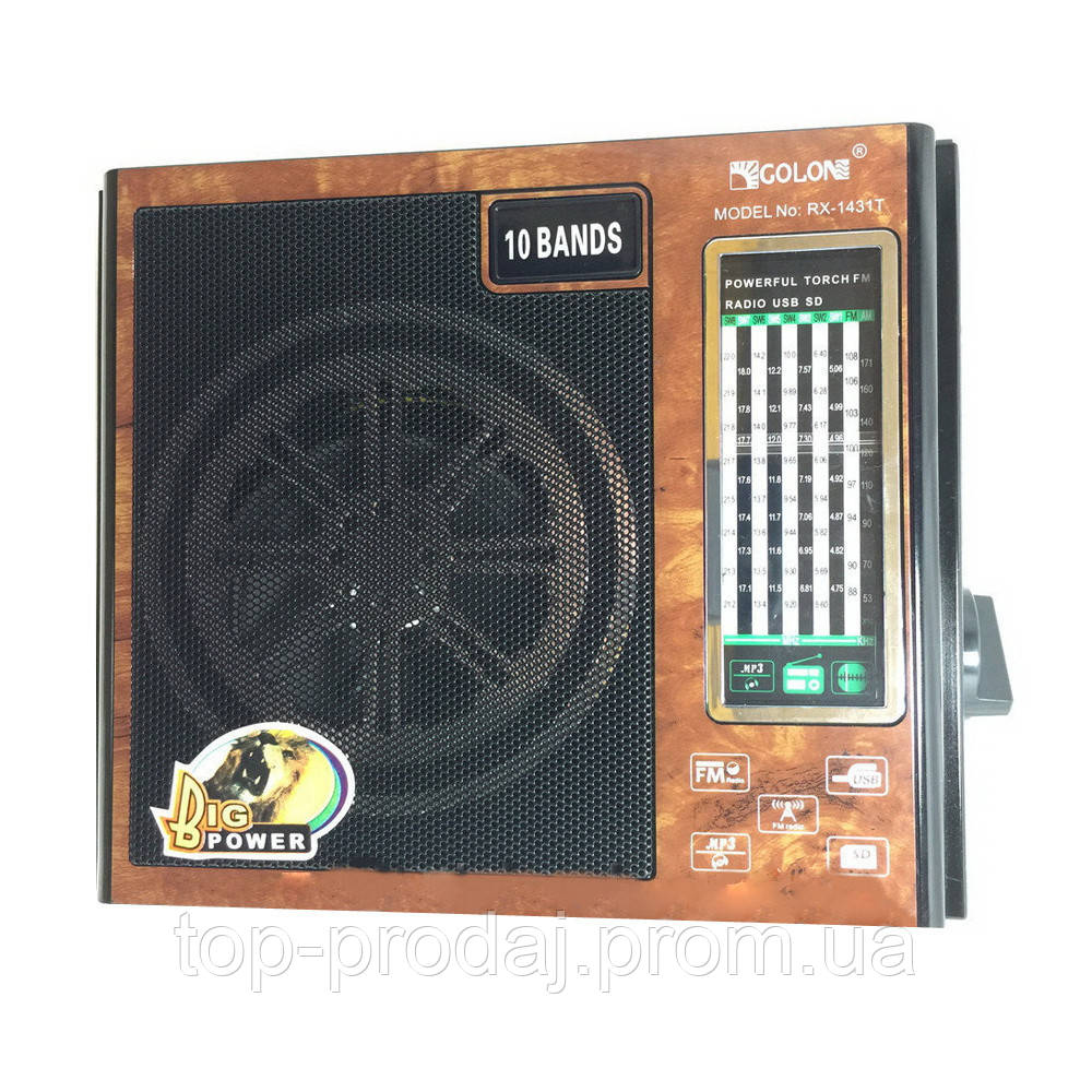 Радио RX 1431, Аналоговый радиоприемник, Портативное радио с фонариком, USB, Приемник переносной с юсб