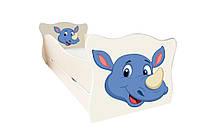Кровать с ящиком Viorina-Deko Animal 6 Носорог Синий с бежевым 70×140