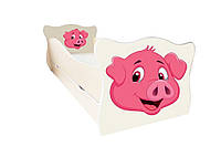 Кровать с ящиком Viorina-Deko Animal 11 Свинка Розовый 70×140