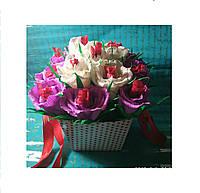 Букет из конфет Розы бел+сир