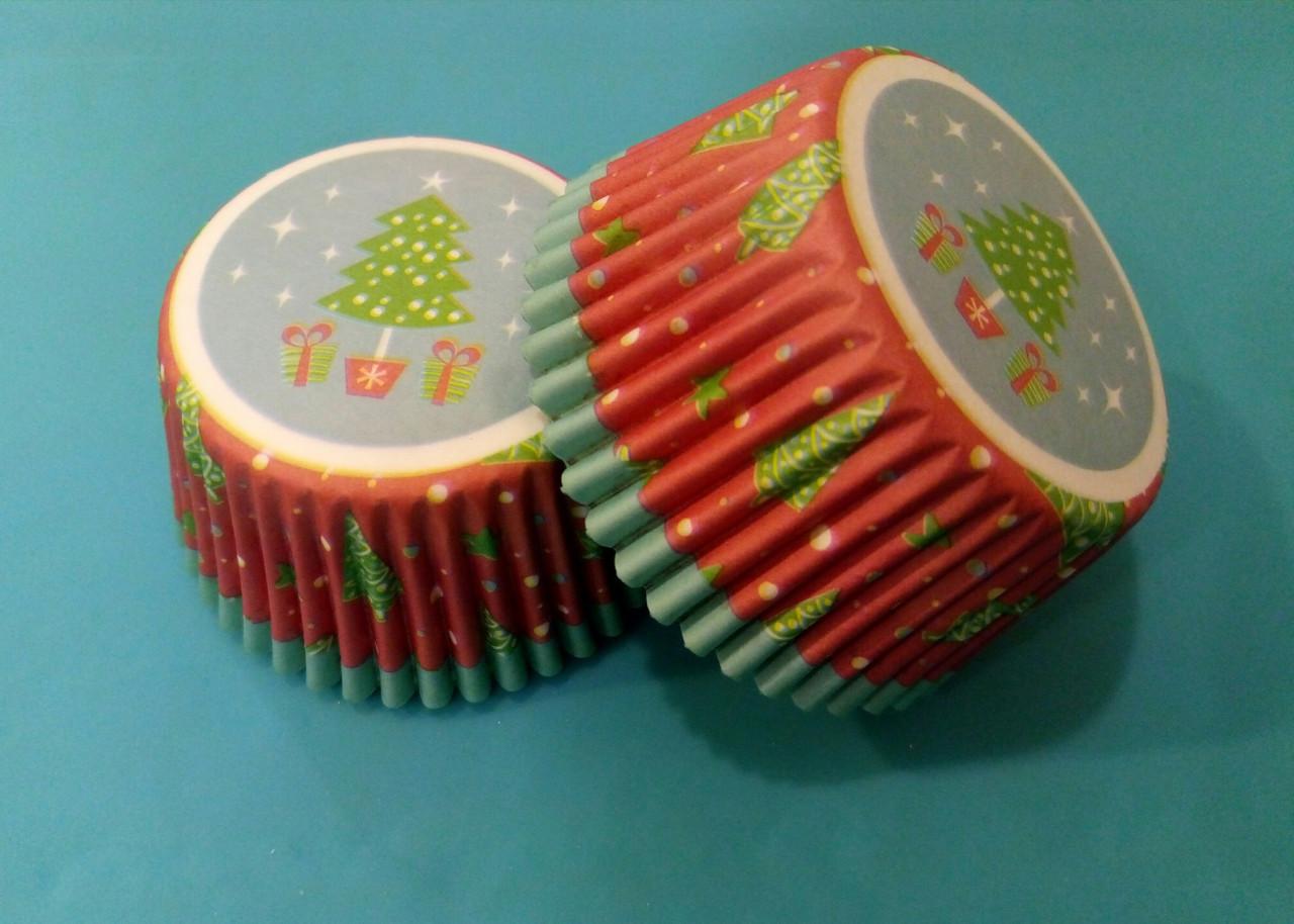 Тарталетки (капсулы) бумажные для кексов, капкейков Новогодние 500 шт