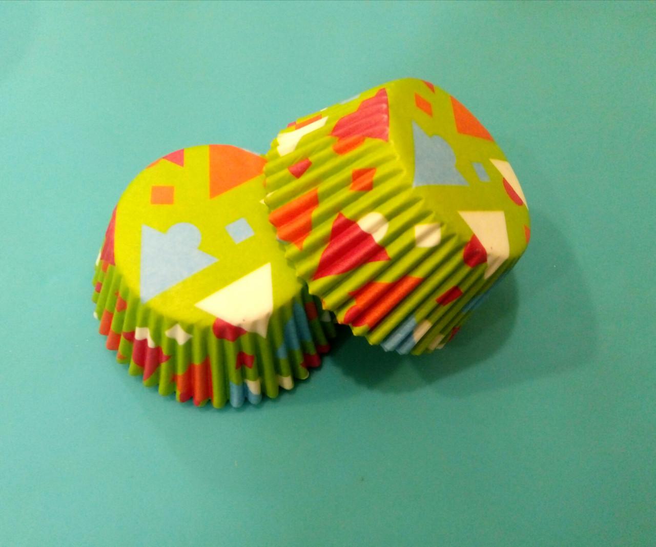 Тарталетки (капсулы) бумажные для кексов, капкейков Геометрические фигуры 500 шт
