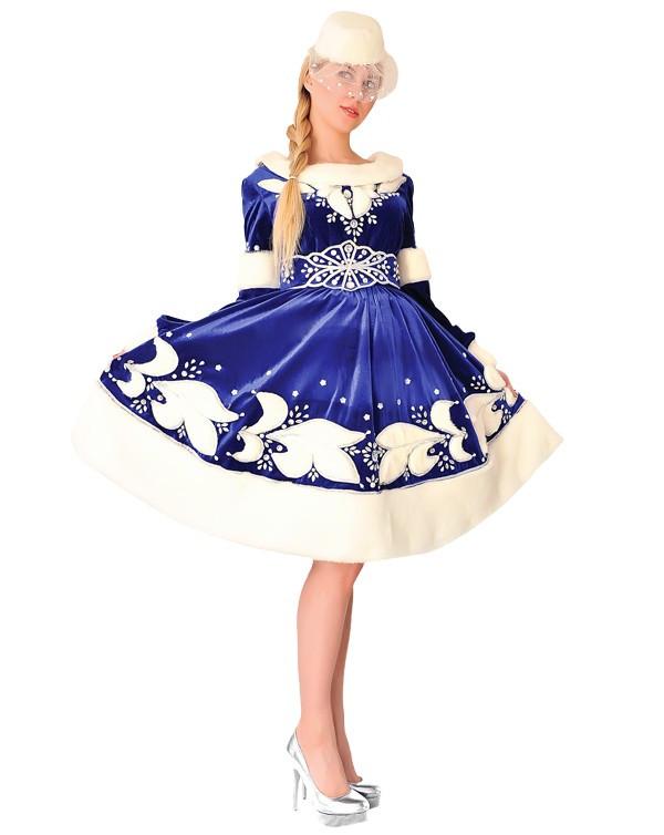 Снегурочка. Комплект - платье, пояс, шляпка (167)