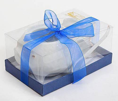 Икорница с ложкой белая фарфоровая в подарочной коробке, фото 2