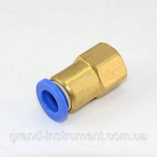 """Соединение цанговое для полиуретановых шлангов PU/PR (прямое, шланг - внутр. резьба) 6ммX1/4"""" AIRKRAFT SPCF06-02"""