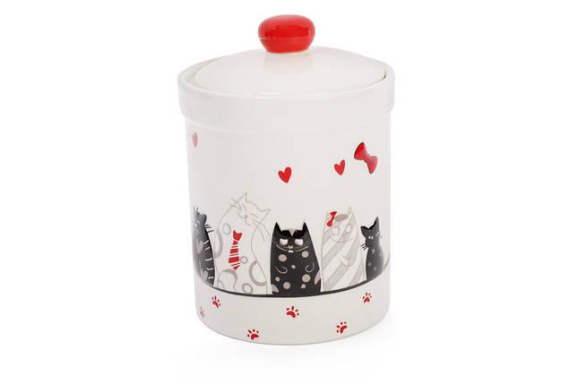 """Банка для сыпучих продуктов керамика """"Кошкин дом""""  950 мл с объемным рисунком, фото 2"""