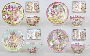 Чайный набор 4 предмета: 2 чашки фарфоровые 250мл с блюдцем, XX707